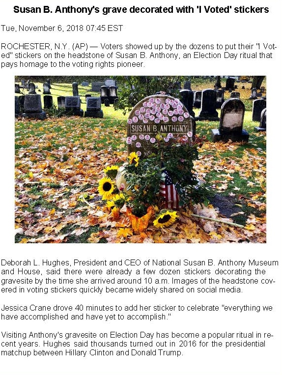 Susan B Anthony grave decorated with I Voted stickers